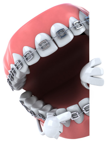 Dentures character with braces pointing