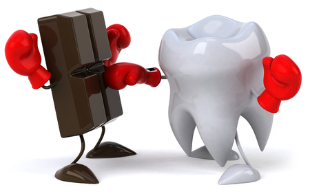 confection: Boxing match between chocolate character and tooth character