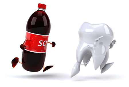 Soda bottle character chasing tooth character