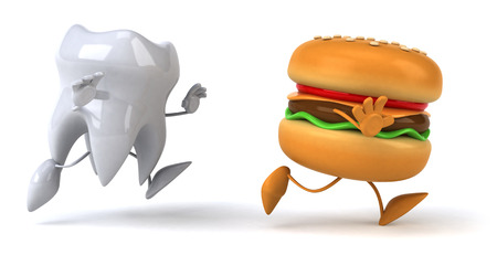 fast foot: Tooth character chasing burger character