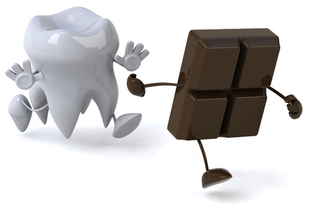 Tooth character chasing chocolate character