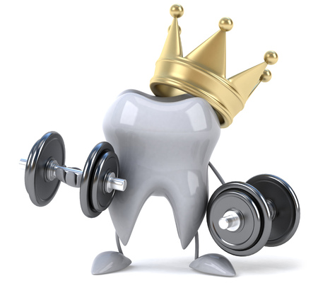 Tooth character with crown lifting dumbbells Stock Photo