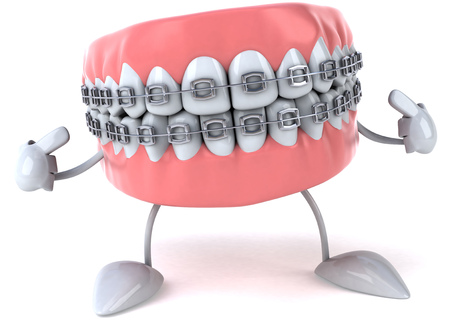 Dentures character with braces pointing to itself Stock Photo