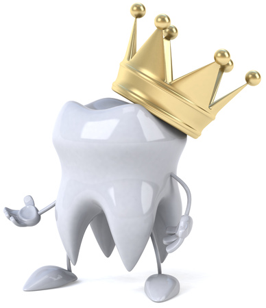 Tooth character with crown with open arms Stock Photo