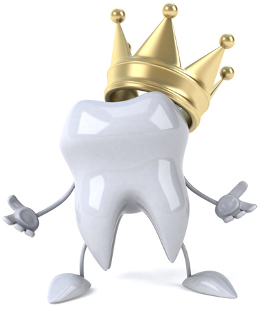 Tooth character with crown with open arms 版權商用圖片