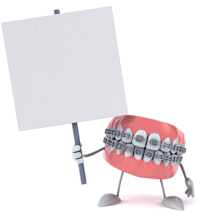 Dentures character with braces pointing at a signboard