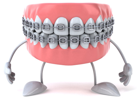 Dentures character with braces Фото со стока