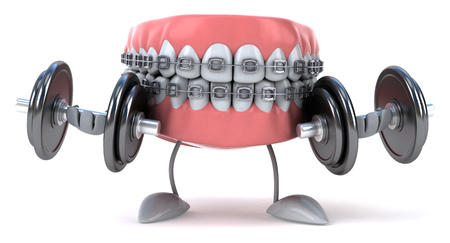 hand with dumbbell: Dentures character with braces lifting dumbbells Stock Photo