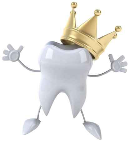 Tooth character with crown with arms raised