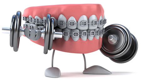 Dentures character with braces lifting dumbbells Stock Photo