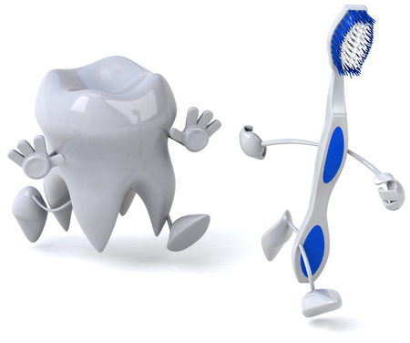 Tooth character chasing toothbrush character