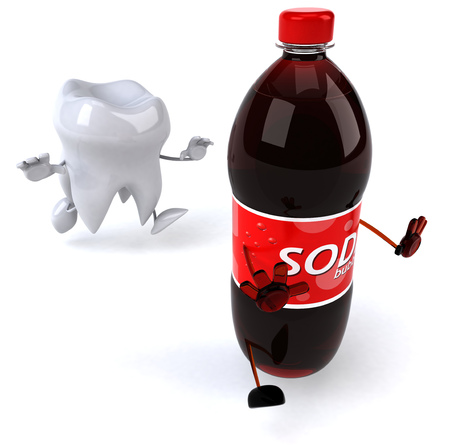 Tooth character chasing soda bottle character