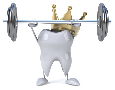 Tooth character with crown lifting barbell