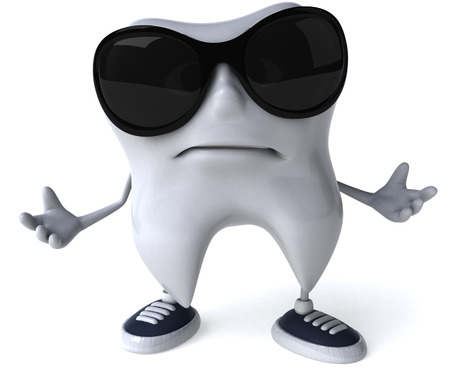 Tooth character acting cool