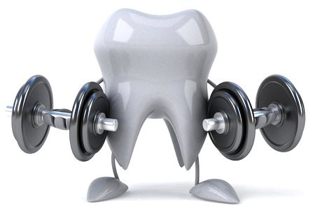 Tooth character lifting dumbbells