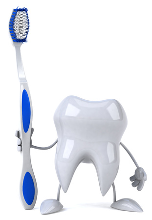 Tooth character holding a toothbrush 版權商用圖片