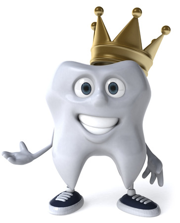 Happy tooth character with crown