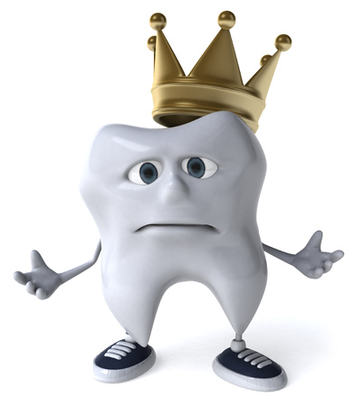 Sad tooth character with a crown