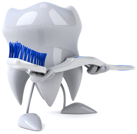 bristles: Tooth character holding a toothbrush