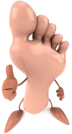 Foot character with thumbs up