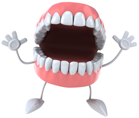 Dentures character with raised arms 版權商用圖片
