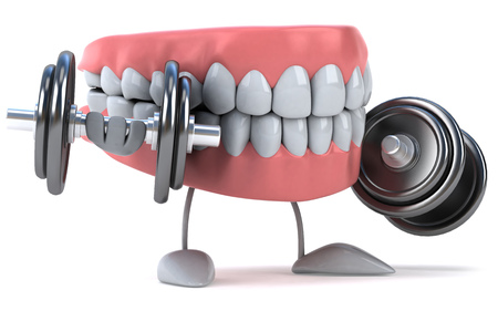 Dentures character lifting dumbbells