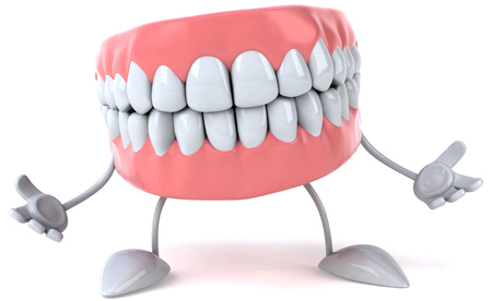 Dentures character with open arms Stock Photo