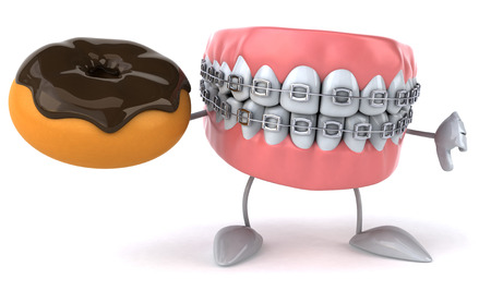 fried: Dentures character with braces pointing at a donut