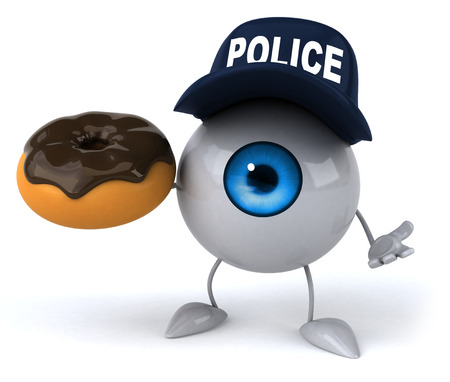 fried: Eyeball with police hat holding a donut