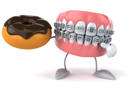 Dentures character with braces pointing at a donut