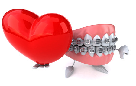 Dentures character with braces holding a heart