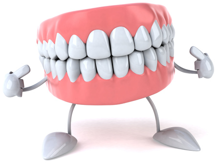Dentures character pointing to itself Stock fotó