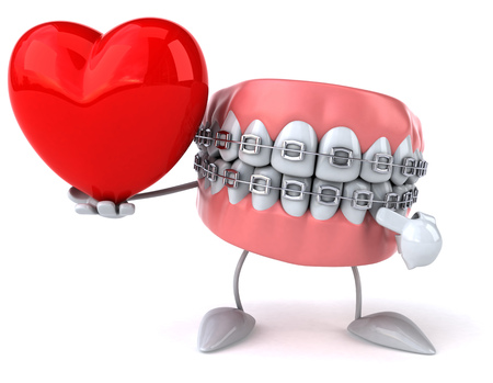 Dentures character with braces pointing to a heart