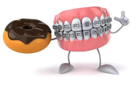 Dentures character with braces holding a donut Stock Photo
