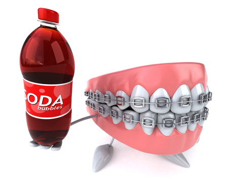 Dentures character with braces holding a soda bottle Stock Photo