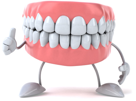Dentures character with thumbs up