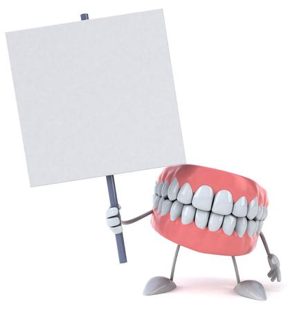 Kunstgebit karakter met een uithangbord