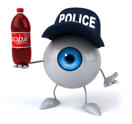 retina display: Eyeball with police hat holding a soda bottle Stock Photo