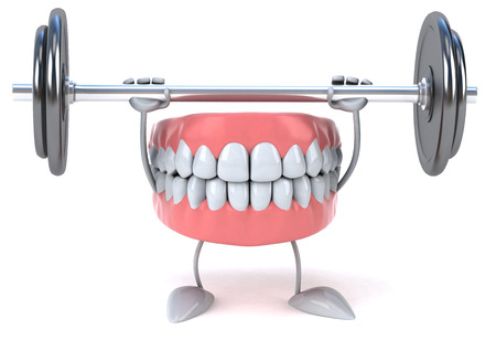 Dentures character lifting a barbell Stock Photo