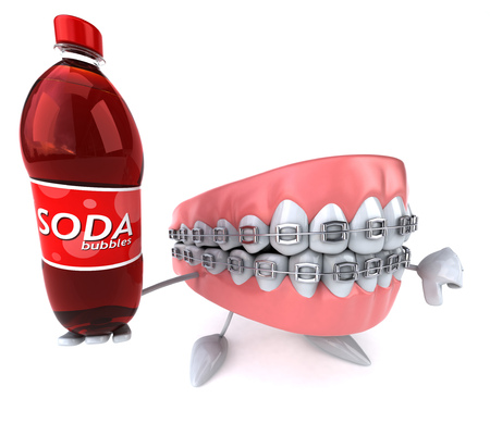 Dentures with braces character holding a soda bottle Stock Photo