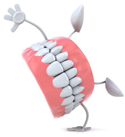Dentures character doing a somersault
