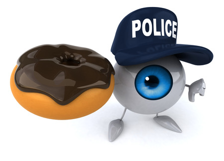 ドーナツを保持している警察の帽子を眼球します。