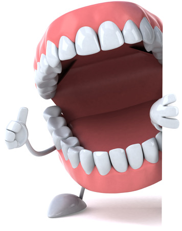 Dentures character opening its mouth