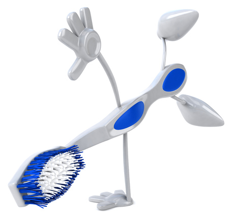 computer dancing: Toothbrush character doing a somersault