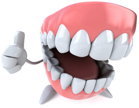 Dentures character showing thumbs up Stock Photo