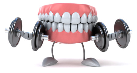 Dentures lifting dumbbells Stock Photo