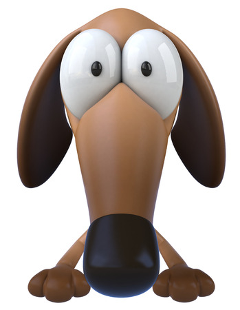 Cartoon dog with big nose