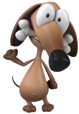 domesticated: Cartoon dog with dog bone