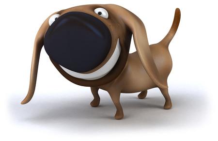 Cartoon dog is smiling