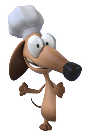 greet: Cartoon dog with chef hat